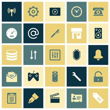 users video: Flat design icons for user interface. Vector illustration.