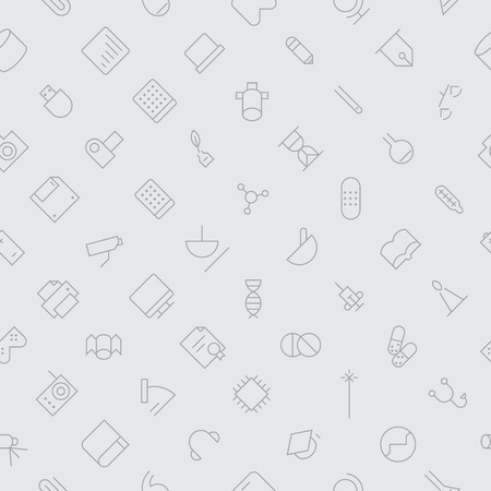 swatch book: Seamless background pattern for technology, science and medical made of thin line icons. Vector illustration.