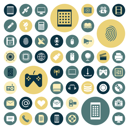 telecommunications technology: Flat design icons for technology and media. Vector illustration.