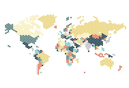 world  hexagon: Dotted World map of hexagonal dots on white background. Vector illustration.