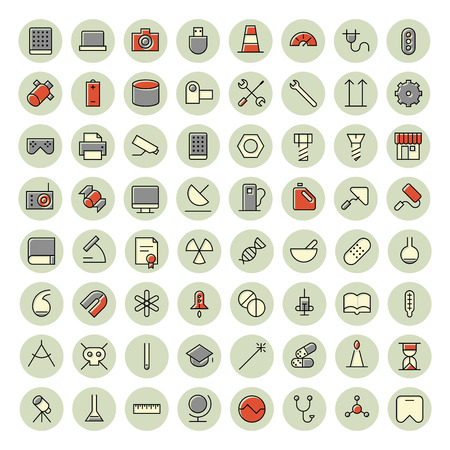 Thin line icons for science, technology and medical. Vector illustration.