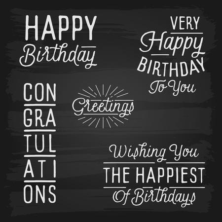slogans: Hand drawn lettering slogans for Birthday. Vector illustration.