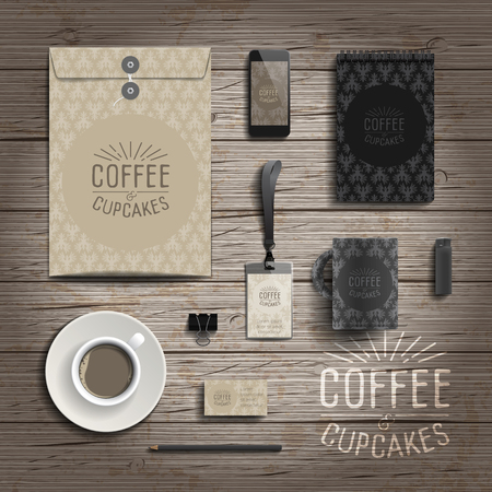 identity: Corporate identity stationery objects print template. Vector illustration.