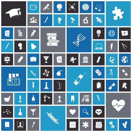 retort: Flat design icons for education, science and medical. Vector illustration.