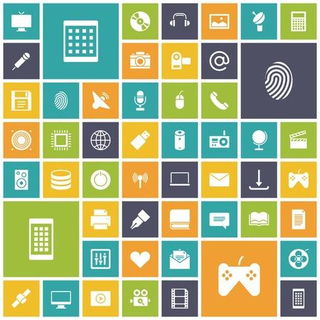 Iconos del diseño del plano para la tecnología y los medios de comunicación. Ilustración del vector.