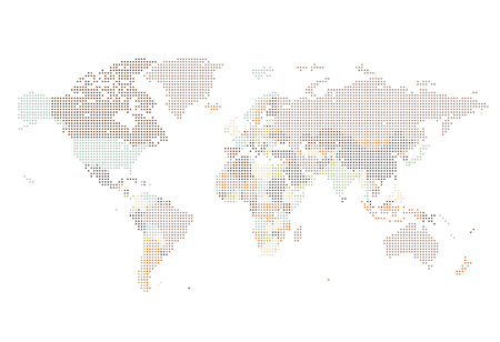 Dotted World map of square dots on white background. Vector illustration. Illustration