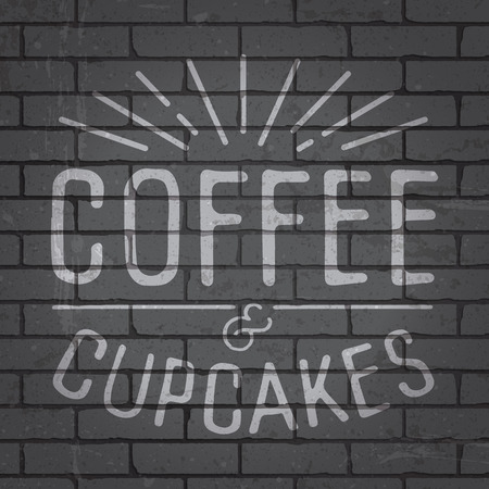 cement wall: Hand drawn lettering slogan on grunge gray brick wall background. Vector illustration.