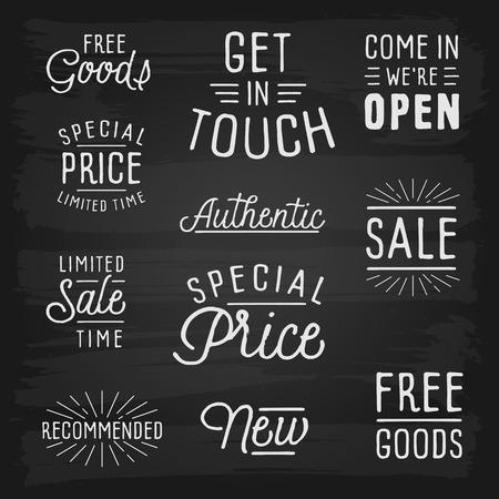 slogans: Hand drawn lettering slogans for retail. Vector illustration.