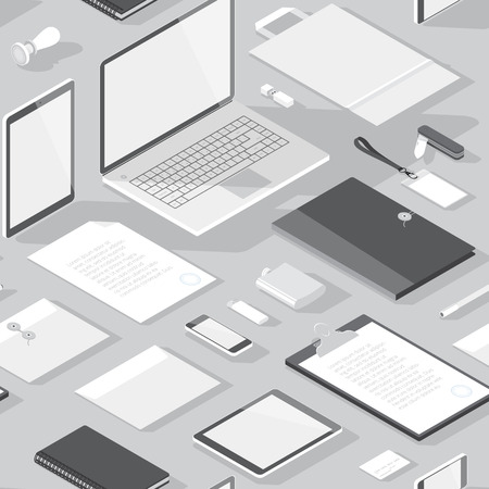 computer devices: Seamless background pattern for business. Stationery office objects and computer devices. Vector illustration.
