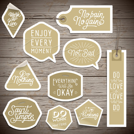 rustic wood: Stickers on rustic wood background. Vector illustration.
