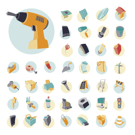cash register building: Vintage icons set for industrial, construction and energy. Vector illustration.