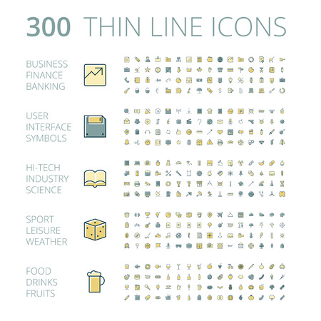 Icone piane di disegno per affari, tecnologia, industria, interfaccia utente, cibo e bevande. Illustrazione vettoriale.