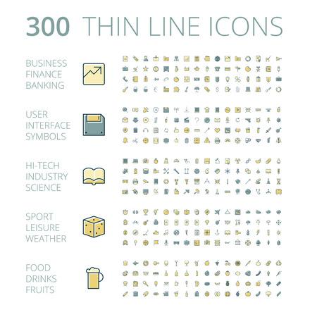 Iconos del diseño planas para negocios, tecnología, industrial, interfaz de usuario, los alimentos y bebidas. Ilustración del vector.