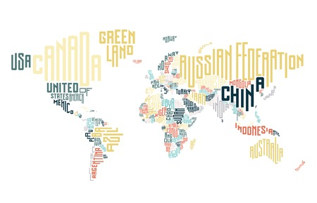 the country: World map made of typographic country names. Vector illustration.
