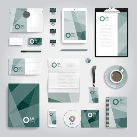 papeleria: papelería identidad corporativa plantilla de impresión objetos. Ilustración del vector.
