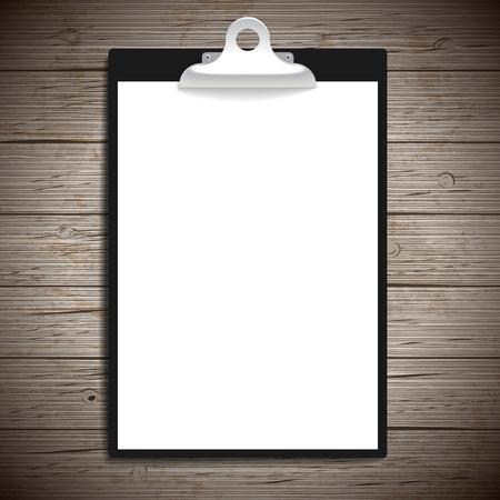 portapapeles: Portapapeles con el fondo de papel de la vendimia. Ilustración del vector.