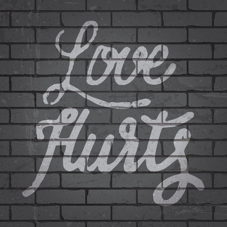 filthy: Hand drawn lettering slogan on grunge gray brick wall background. Vector illustration.