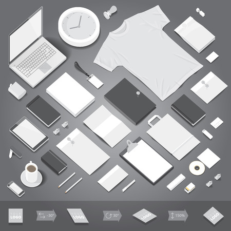 identity: Corporate identity stationery objects mock-up template. Isometric style. Vector illustration.