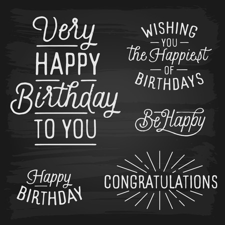 birth day: Hand drawn lettering slogans for Birthday. Vector illustration.