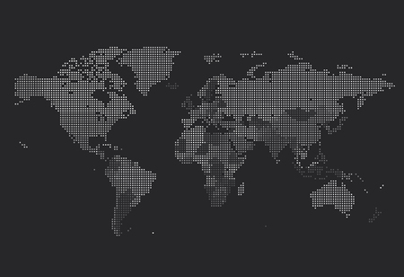 Dotted World map of square dots on dark background. Vector illustration. Иллюстрация