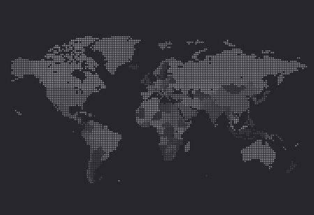 Przerywana Mapa świata kwadratowych kropek na ciemnym tle. ilustracji wektorowych.