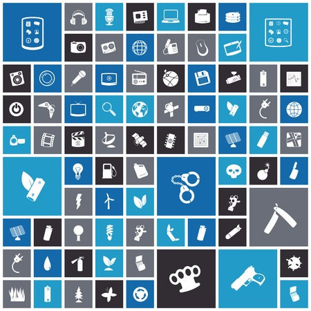 miscellaneous: Flat design icons for technology, energy and miscellaneous items. Vector illustration.