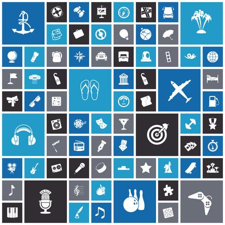 Iconos del diseño planas para viajes, el ocio y la música. Ilustración del vector.