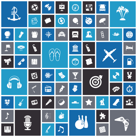 icônes design plat pour Voyage, loisirs et de la musique. Vector illustration.