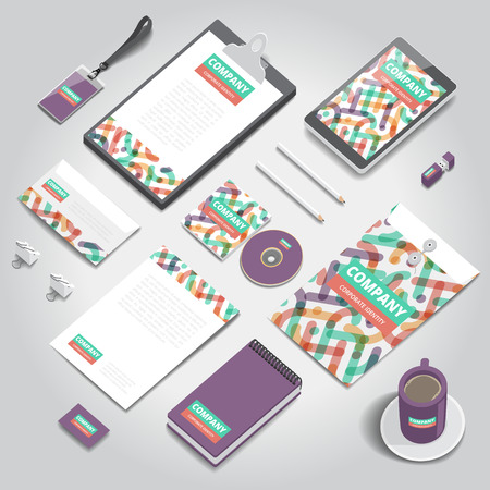 identity: Corporate identity stationery objects print template. Isometric style. Vector illustration.