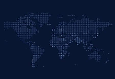 Dotted World map of square dots on dark background. Vector illustration. Illustration
