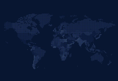 Dotted World map of square dots on dark background. Vector illustration.