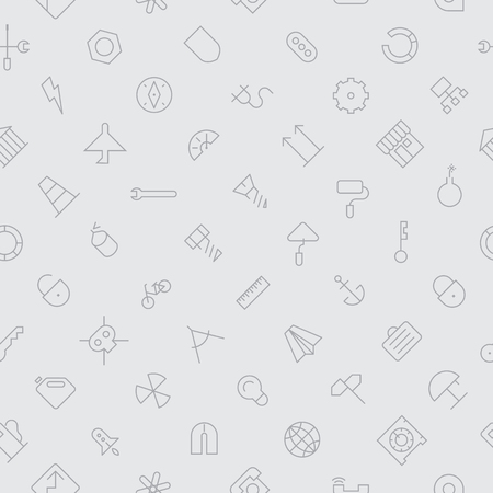 industrial construction: Seamless background pattern for industrial and construction made of thin line icons. Vector illustration.