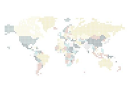 Dotted carte mondiale des points carrés sur fond blanc. Vector illustration.