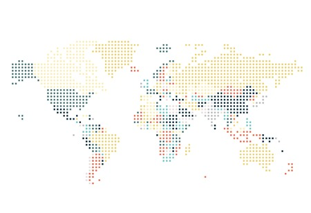 europe map: Dotted World map of square dots on white background. Vector illustration. Illustration
