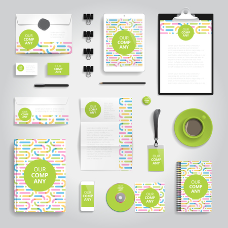 print template: Corporate identity stationery objects print template. Vector illustration.