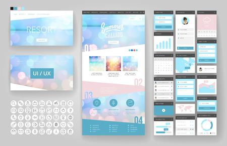 웹 사이트 템플릿, 한 페이지 디자인, 헤더 및 인터페이스 요소. 여행사, 열대 여름 리조트. 일러스트