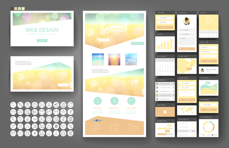 design elements: Website template, one page design, headers and interface elements.