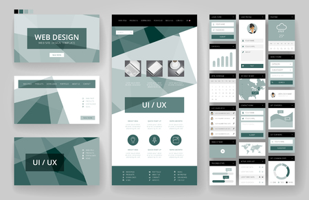 site backgrounds: Website template, one page design, headers and interface elements.