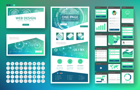telecommunications technology: Website template, one page design, headers and interface elements. Technology HUD global connections backgrounds.