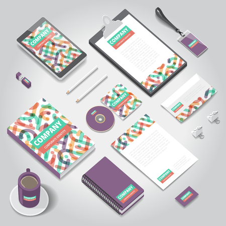 style template: Corporate identity stationery objects print template. Isometric style. Vector illustration.