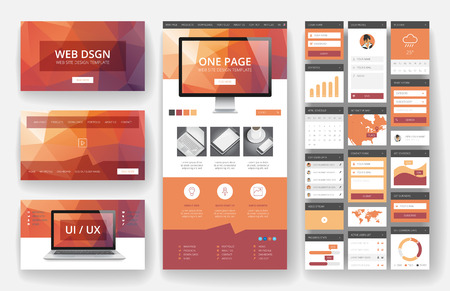 responsive: Website template, one page design, headers and interface elements. Low poly abstract backgrounds. Illustration