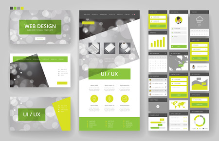web site design template: Website template, one page design, headers and interface elements. Bokeh defocused backgrounds.