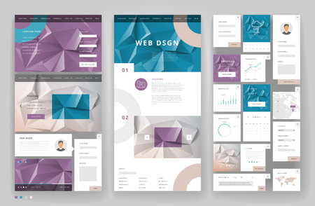 web site design template: Website template design with interface elements. Low poly abstract backgrounds. Vector illustration. Illustration