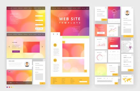 web site design template: Website template design with interface elements. Bokeh defocused backgrounds. Vector illustration.