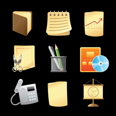paper note: Icons for office and stationery.