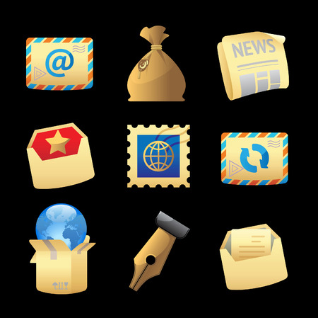 Icons for postal services. Illustration
