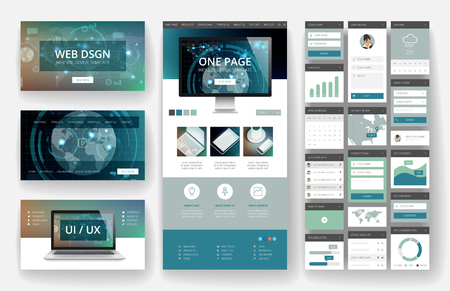 Website template, one page design, headers and interface elements. Technology HUD global connections backgrounds. Vector Illustration