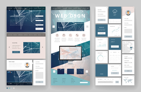Website template design with interface elements. Low poly abstract backgrounds. Vector illustration. Ilustração