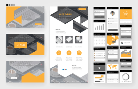 Website template, one page design, headers and interface elements. Office stationery background. Ilustração