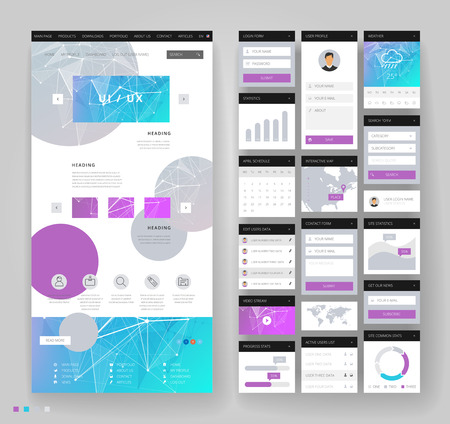 Website template design with interface elements. Low poly abstract backgrounds. Vector illustration.